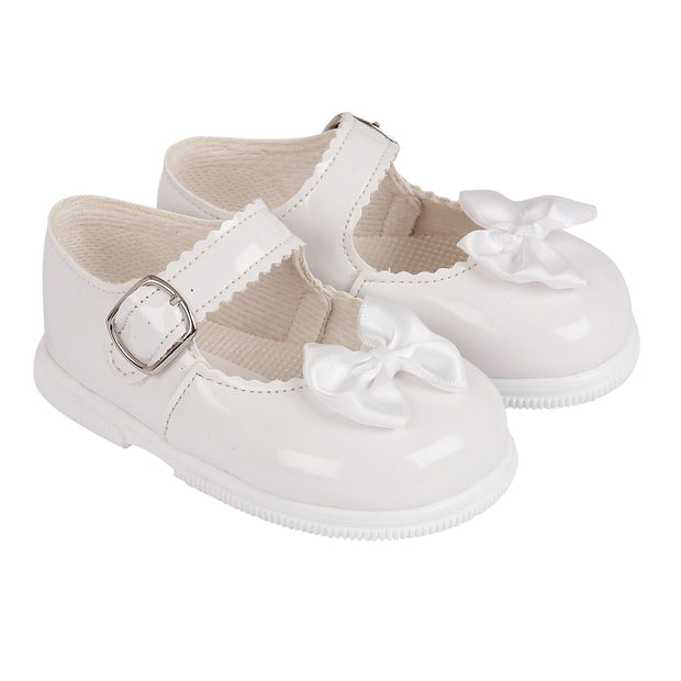 Baypods White Patent Hard Sole Bow Shoes | Millie and John