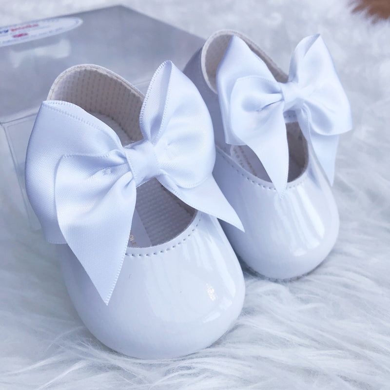 Baypods White Patent Large Bow Soft Sole Shoes | Millie and John