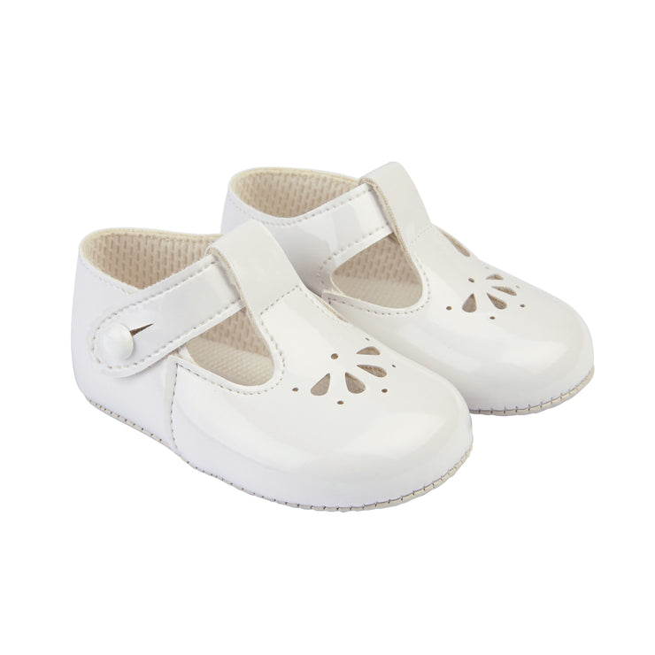 Baypods White Patent Petal Punch T-Bar Shoes | Millie and John