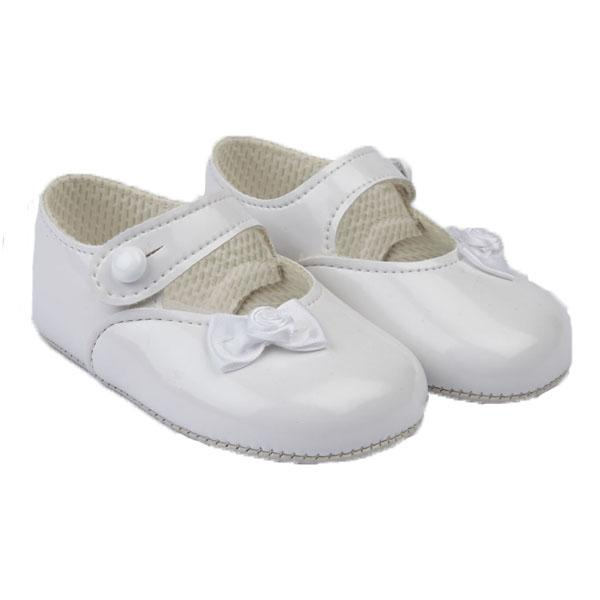Baypods White Patent Rose Bow Soft Sole Shoes | Millie and John