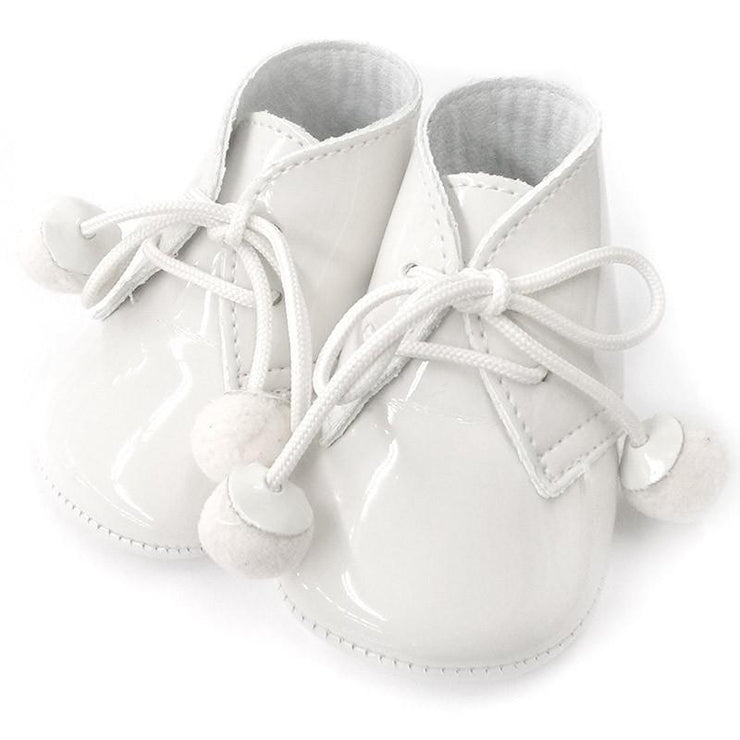 Top Baby White Patent Soft Sole Pom Pom Booties | Millie and John