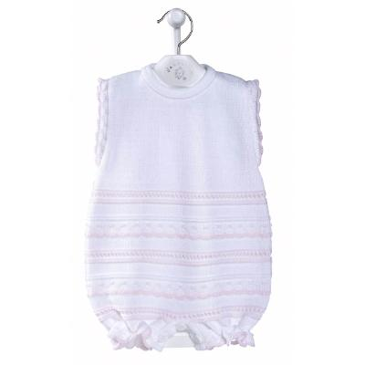 Dandelion White & Pink Knitted Pointelle Romper | Millie and John