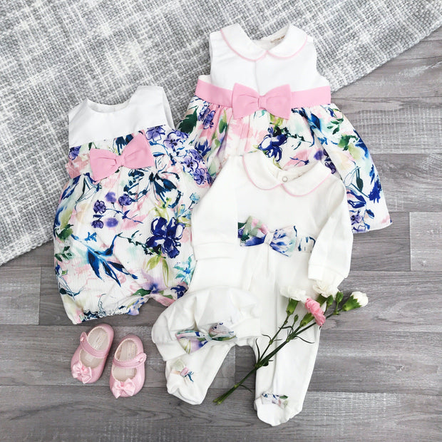 Mintini Baby White & Pink Tropical Floral Print Romper | Millie and John