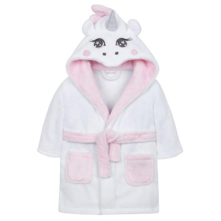 Baby Town White & Pink Unicorn Dressing Gown | Millie and John
