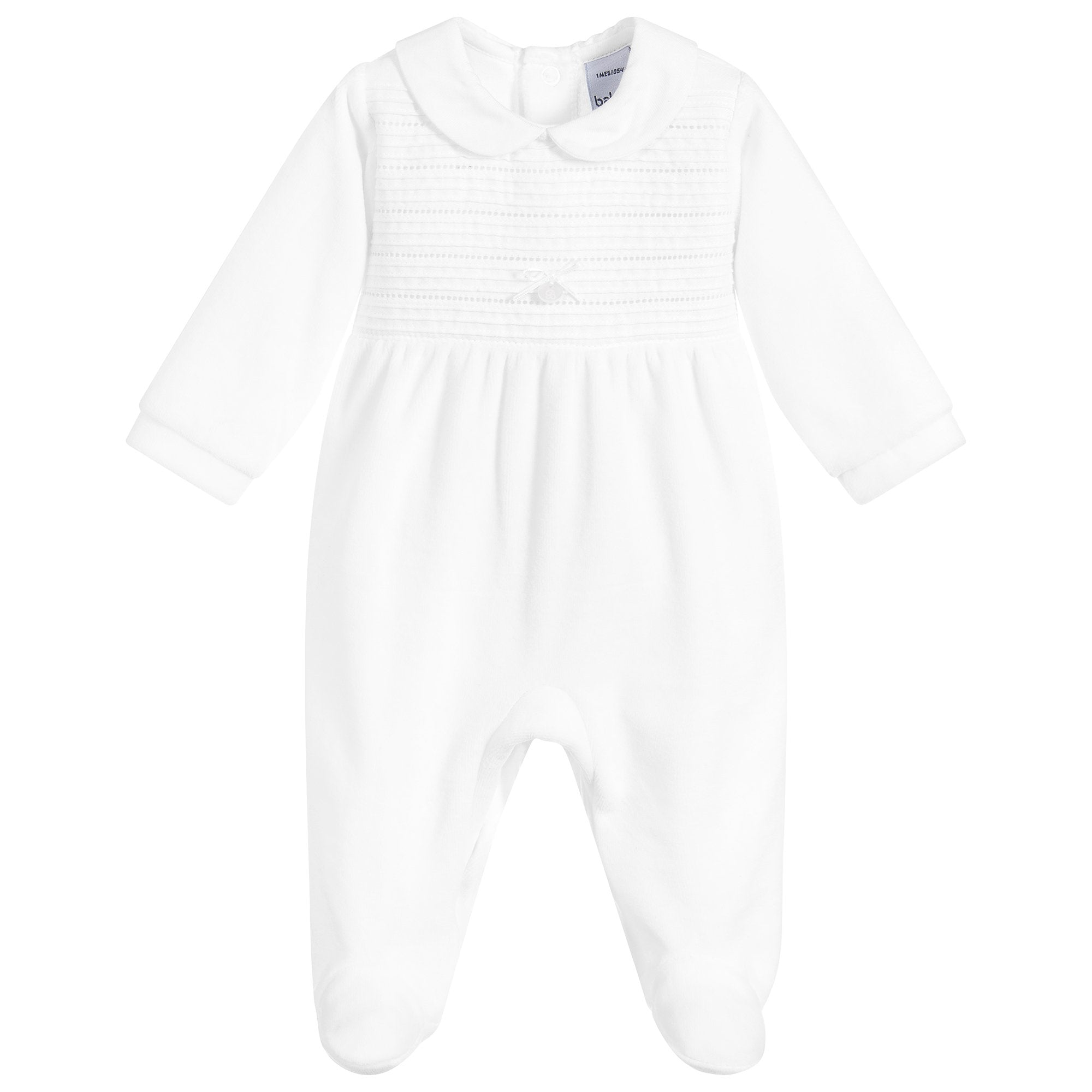 Babidu White Pleated Velour Sleepsuit | Millie and John