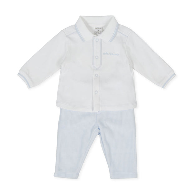 Tutto Piccolo White Polo Shirt & Blue Velour Trousers | Millie and John