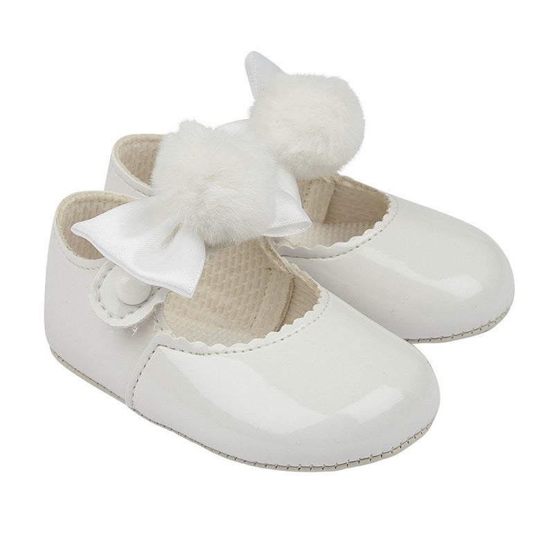 Baypods White Pom Pom Soft Sole Shoes | Millie and John