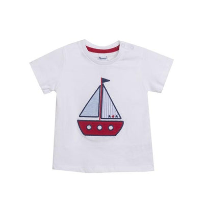 Newness White, Red & Blue Sail Boat T-Shirt | Millie and John