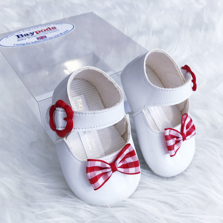 Baypods White & Red Gingham Bow Flower Buckle Soft Sole Shoes | Millie and John
