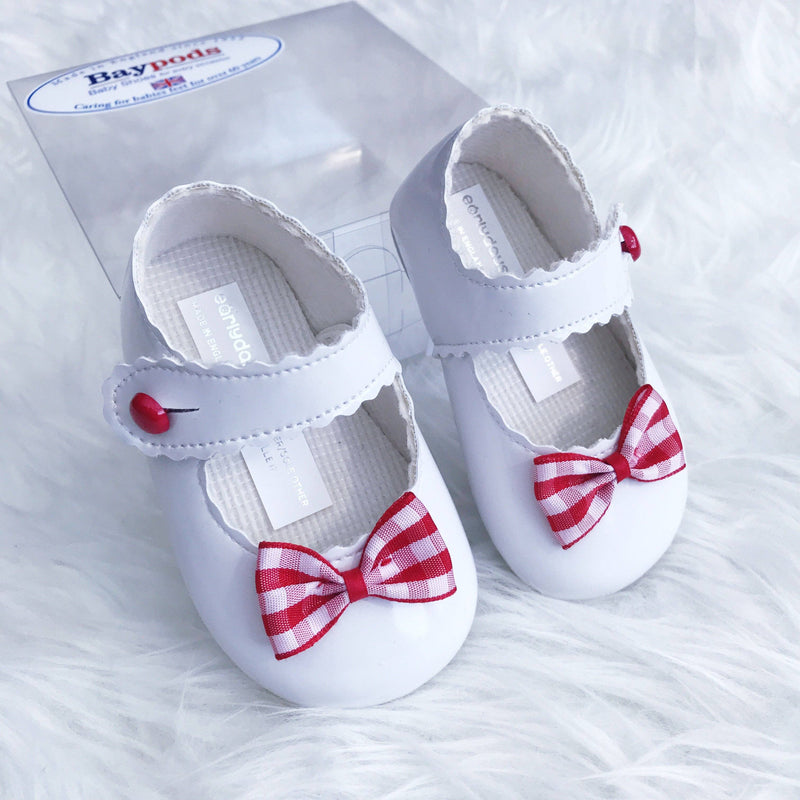 Baypods White & Red Gingham Bow Soft Sole Shoes | Millie and John