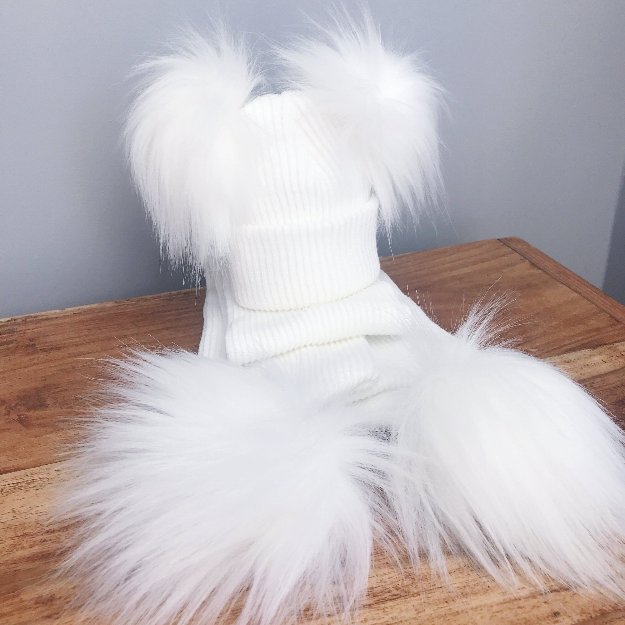 Millie and John White Ribbed Double Pom Pom Hat | Millie and John