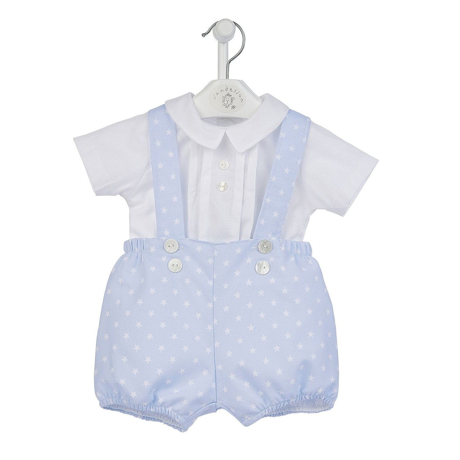 Dandelion White Shirt & Blue Star Print Shorts with Braces | Millie and John