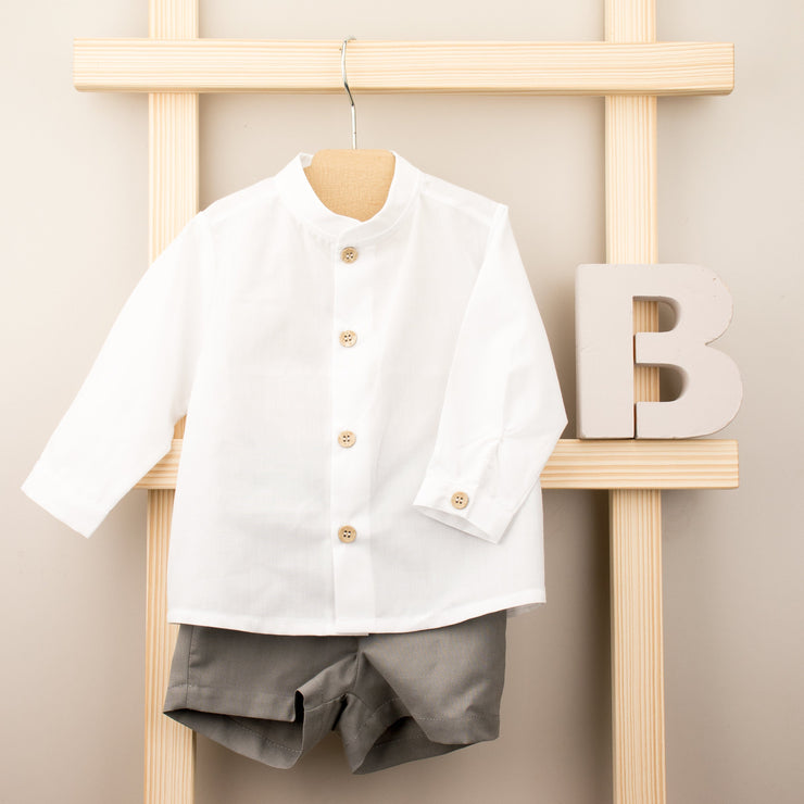 Babidu White Shirt & Grey Shorts | Millie and John