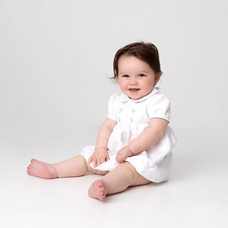 Dandelion White Smocked Rosebud Dress | Millie and John