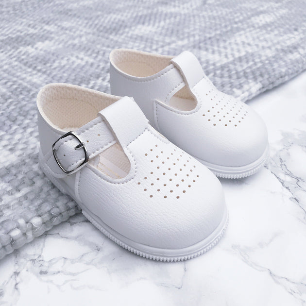 White T-Bar Hard Sole Shoes | Millie