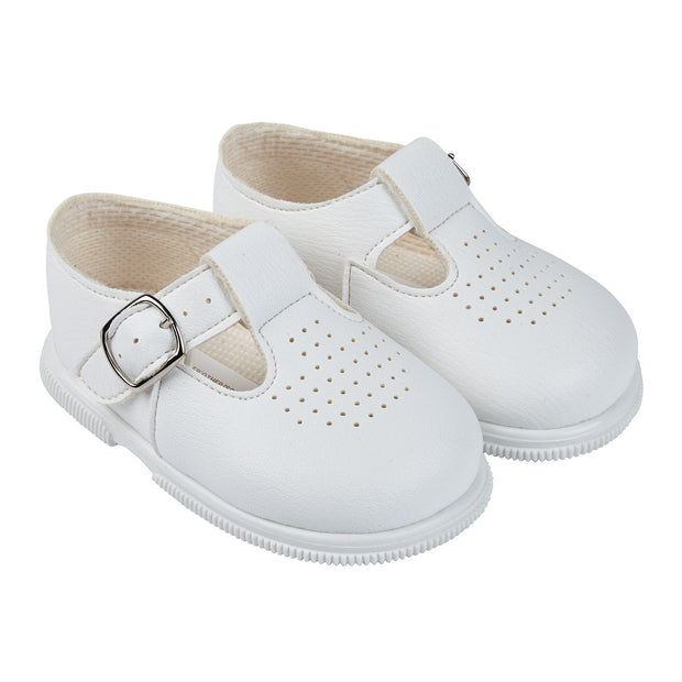 Baypods White T-Bar Hard Sole Shoes | Millie and John