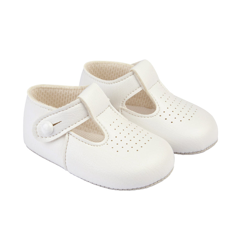 Baypods White T-Bar Soft Sole Shoes | Millie and John