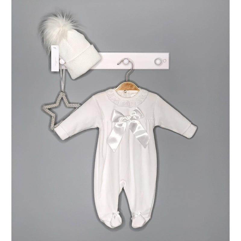 Little Nosh White Velour Satin Bow Sleepsuit | Millie and John
