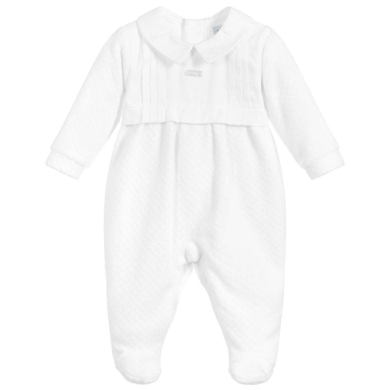 Babidu White Velour Sleepsuit | Millie and John