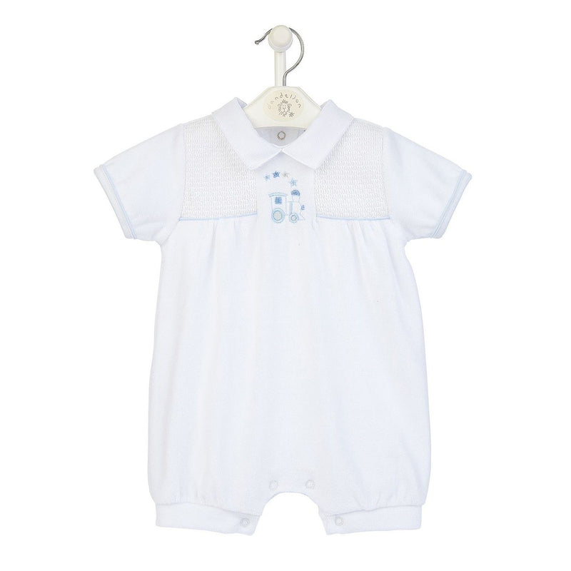 Dandelion White Velour Smocked Train Romper | Millie and John