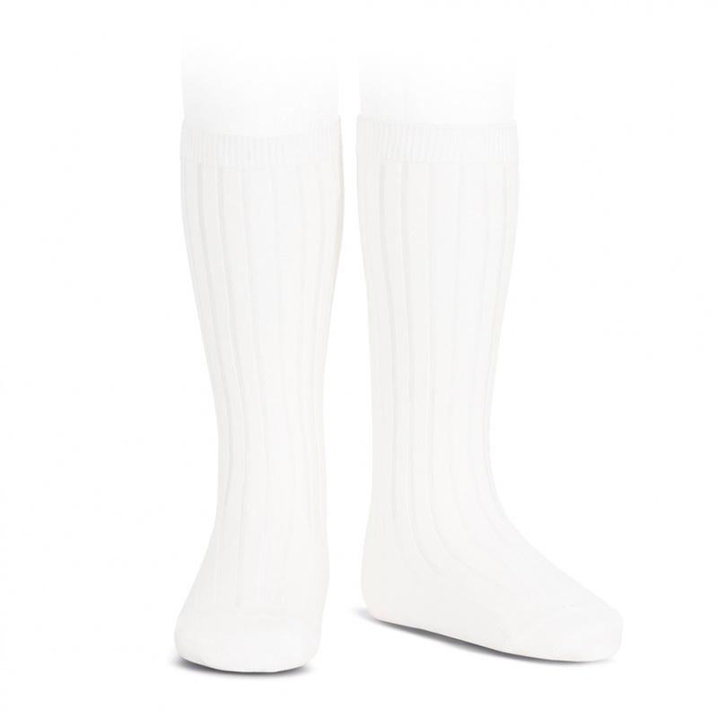 Condor White Wide Ribbed Knee High Socks | Millie and John