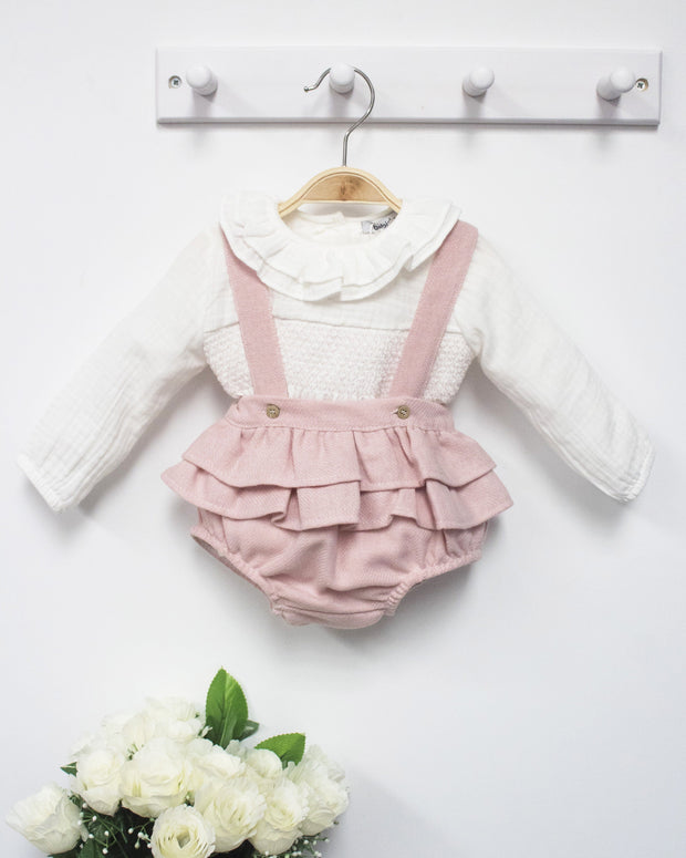 Babidu Wool Ruffle Bloomers & Smocked Blouse | Millie and John
