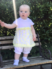 Mintini Baby Yellow 3D Flower Dress & Bloomers | Millie and John