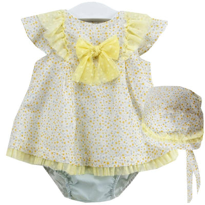 La Cigüeña Yellow Floral Dress & Knickers | Millie and John