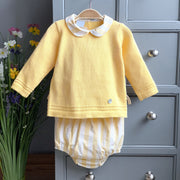 Granlei Yellow Knitted Top with Striped Jam Pants | Millie and John