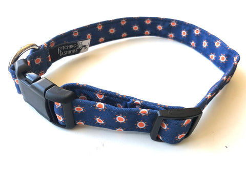 Navy + Orange Sunshine Dog Collar - MEDIUM