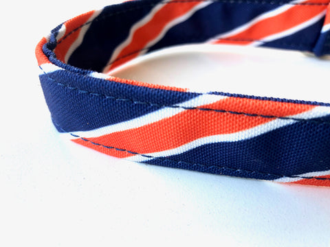 Spirit Orange + Navy Dog Collar - MEDIUM
