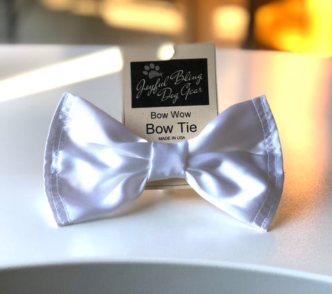 Soft White Satin Bow Tie