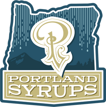 The Portland Syrups logo is a gold P with a rainy mountain background outlined by the state of Oregon
