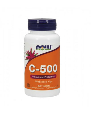 NOW Vitamina C-500 Rose Hips 100 Comprimidos