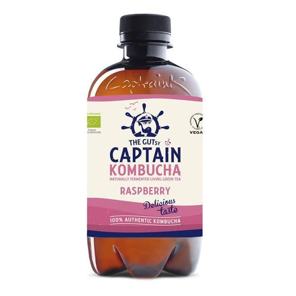 Kombucha Biológica de Framboesa 400ml - The Gutsy Captain