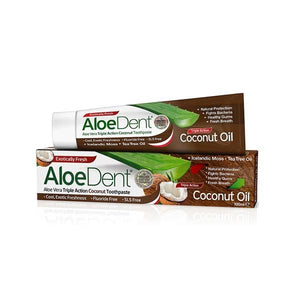Fluoride-Free Triple Action Toothpaste with Coconut Oil 100ml - Aloe Dent - Crisdietética