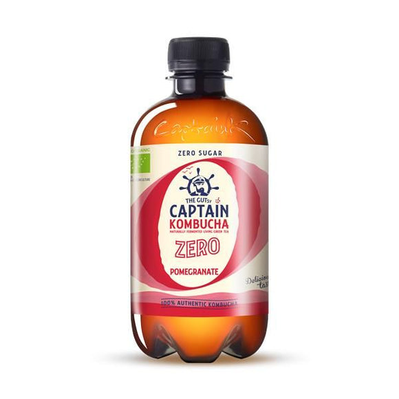 Kombucha Biológica Zero de Romã 400ml - The Gutsy Captain