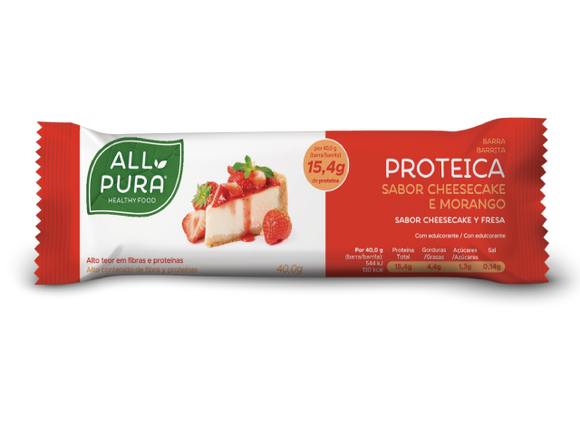 Barra Proteica Cheescake e Morango 40g - All Pura