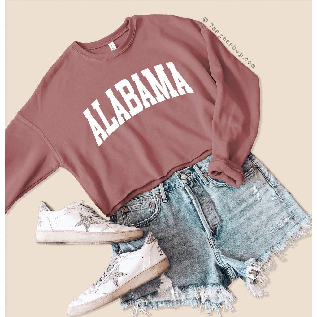 Alabama Cropped Sweatshirt - Alabama Sweatshirt - Alabama Shirts - University of Alabama Crop Top - Fleece Sweatshirt - Mauve / S