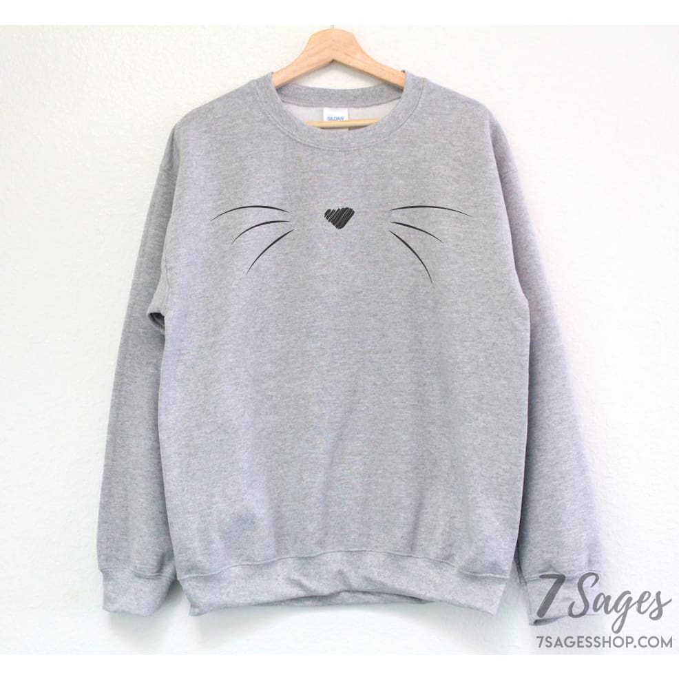 Cat Whiskers Sweatshirt - S / Gray