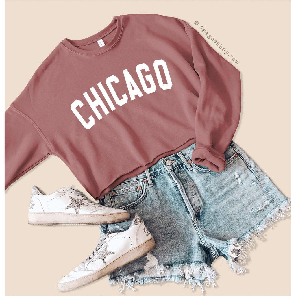 Chicago Cropped Sweatshirt - Chicago Sweatshirt - Chicago Shirts - Chicago Crop Top - Illinois Sweatshirt - Fleece Sweater - Mauve / S