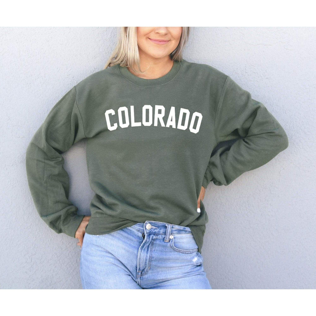 Colorado Sweatshirt - Colorado Sweater - Colorado Shirt - Forest w/White Print / S - Hoodie
