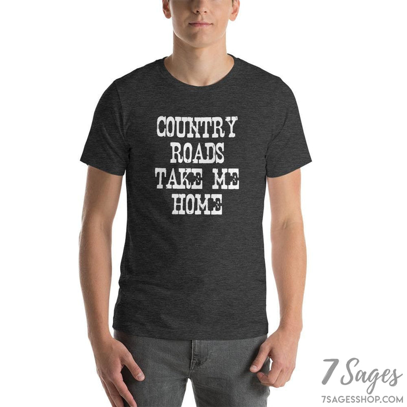 Country Roads Take Me Home T-Shirt - Dark Grey Heather / S