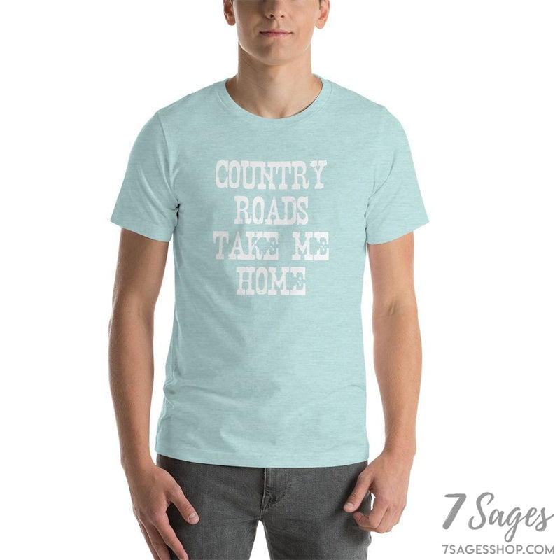 Country Roads Take Me Home T-Shirt - Heather Prism Ice Blue / S