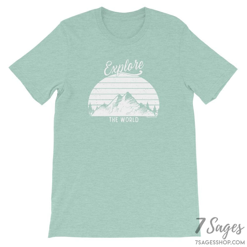 Explore the World T-Shirt - Heather Prism Dusty Blue / S