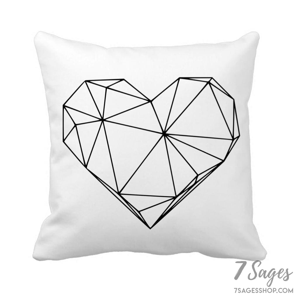 Geometric Heart Throw Pillow