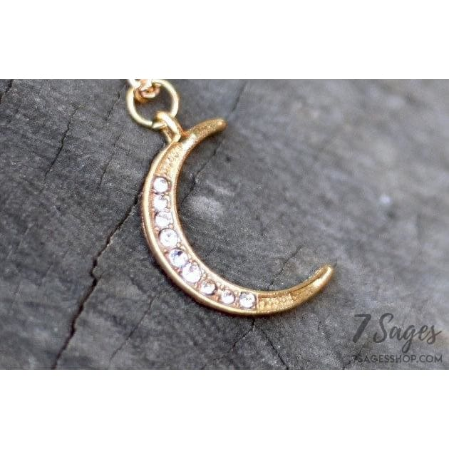 Gold Crescent Moon Necklace with Rhinestones