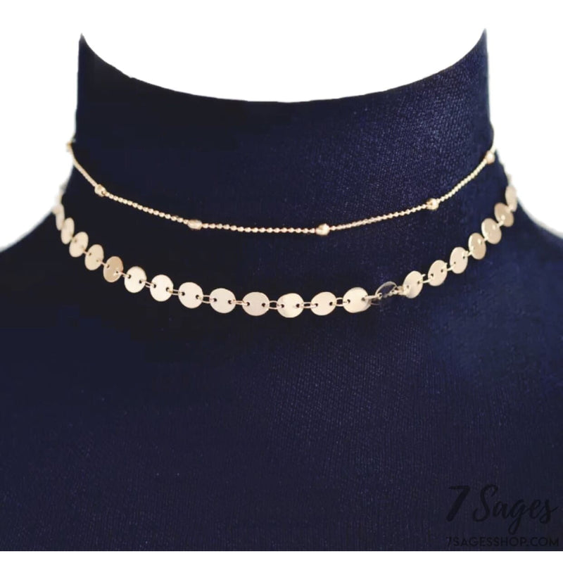 Gold Layered Choker Necklace