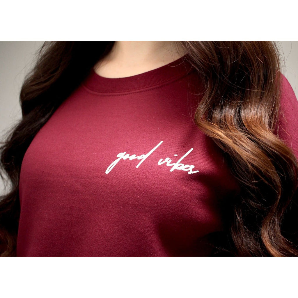 Good Vibes Crewneck Sweatshirt (Maroon)
