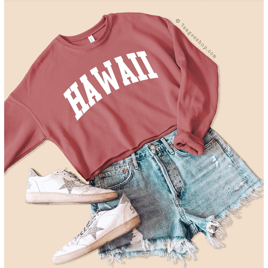 Hawaii Sweatshirt - Hawaii Cropped Sweatshirt - Hawaii Shirt - Fleece Sweater - Cropped Sweater - Mauve / S